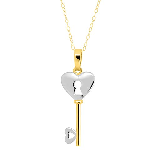 Eternity Gold Heart Lock-and-Key Pendant Necklace in 14K Two-Tone Gold
