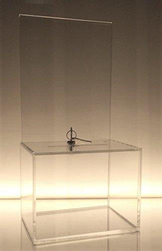 Dazzling Displays Clear Medium-Sized Acrylic Donation Box with Cam Lock and (2) Keys