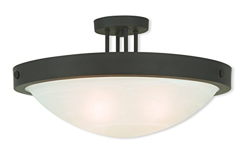 Livex Lighting 73957-07 Bronze Flush Mount with White Alabaster Glass ()