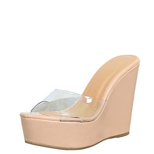BAMBOO Women's Lucite Clear Wedge Heel Open Toe Slip On Mule Dress Shoe (8, Nude Pat)