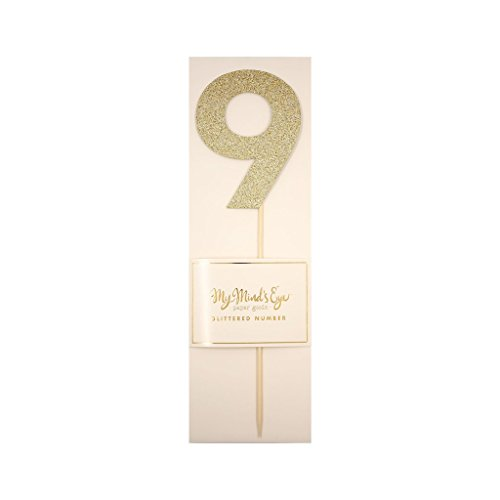 My Mind's Eye Basic Gold Glitter Number Cake Topper Party Pick, Quantity 1 (Number 9)