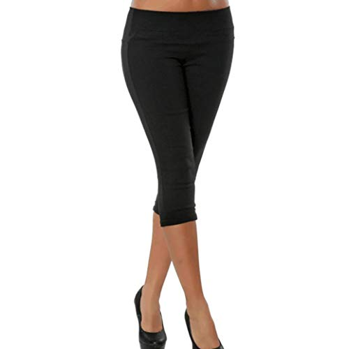 Clearance Sale!Realdo Plus Size Solid Pocket Casual Stretchy Pants Cropped Calf-Length Trousers(Small,Black)