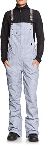 DC Apparel Women's Collective Snow SKI BIB Pant, Light Blue Acid wash Denim b, -
