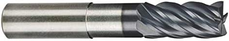 .5000 1//2 6.0000 OAL Single End Corner Radius Carbide End Mill RedLine Tools REX5570 5 Flute .6250 LOC .0600 Radius Round Shank Type AlCrN Coated