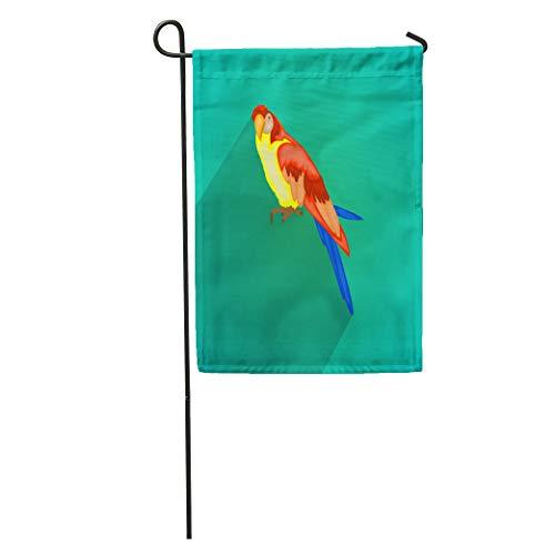 Semtomn Garden Flag Blue Animal Ara Parrot Colorful Avian Beak Beautiful Bill Bird Home Yard House Decor Barnner Outdoor Stand 28x40 Inches Flag