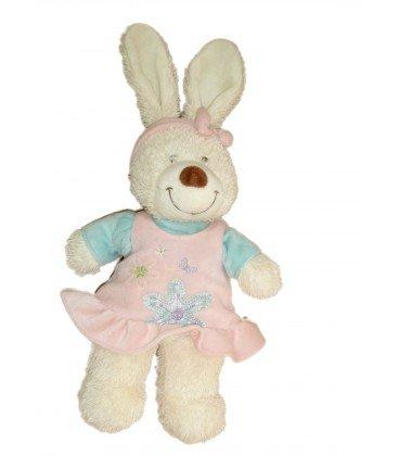 Doudou conejo blanco vestido rosa flores Tex Baby CMI Carrefour H 38 cm