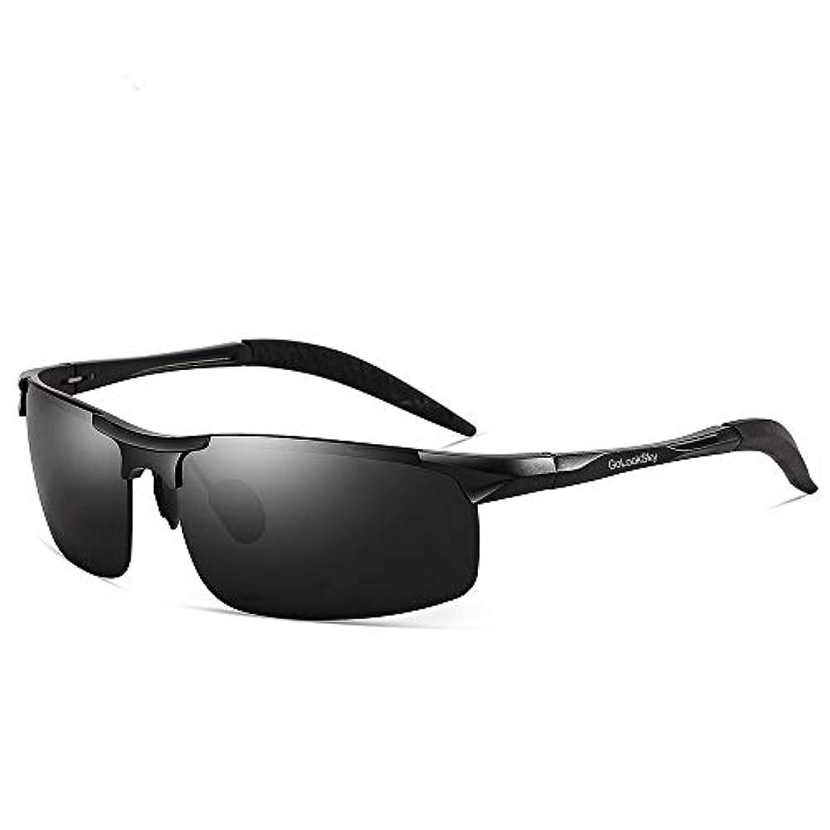 [해외] GOLOOKSKY 【최신판】편광 렌즈 스포츠 썬글라스 초경량 알루미늄・마그네슘 합성피혁금 UV400 자외선 컷,운전차용/자전거/야구/낚시/테니스/골프/스키/런닝