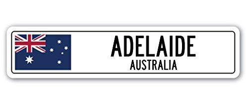 ADELAIDE, AUSTRALIA Street Sign Australian flag city country road wall gift