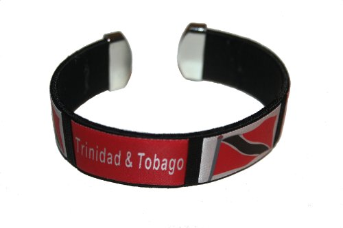 Trinidad & Tobago Black Country Flag THICK C' Bracelet Wristband.. (Trinidad Wristband)