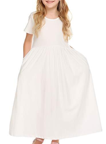 White Maxi Dress For Girls - Balasha Girls Short Sleeve Dress Summer