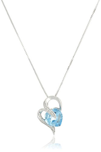 10k White Gold Swiss-Blue-Topaz and Diamond Accent Heart-Shape Pendant Necklace, -