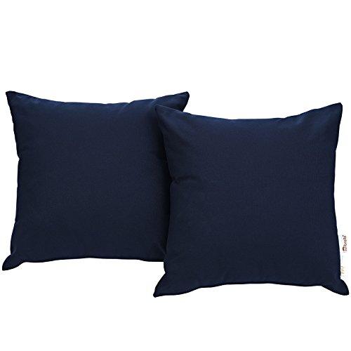 Sunbrella Pillow Covers - Modway Summon 2 Piece Outdoor Patio Pillow Set With Sunbrella Brand Navy Canvas Covers