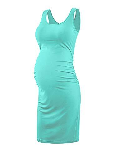 KIM S Maternity Tank Bodycon Dress Pregnancy Dresses for Women Mint XL