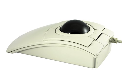 CST1150 USB-PS/2 Wired Ambidextrous Ergonomic Trackball (Beige w/ Black Ball) - Made in the USA by Clearly Superior Technologies, Inc.