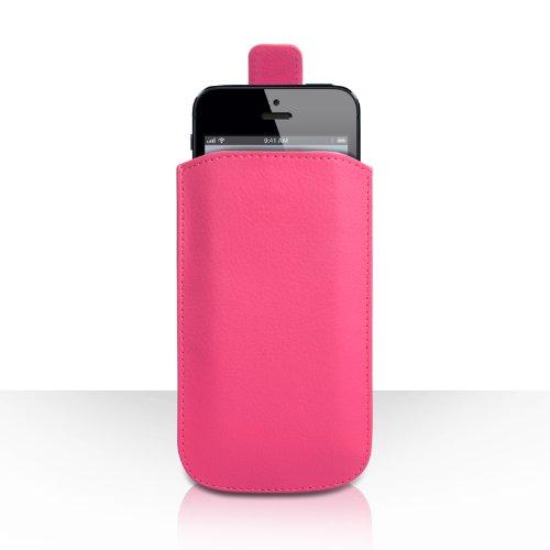 iPhone 5C Tasche Dunkelrosa PU Leder Beutel Hülle Caseflex Mit Automatischer Rückkehr Registerkarte