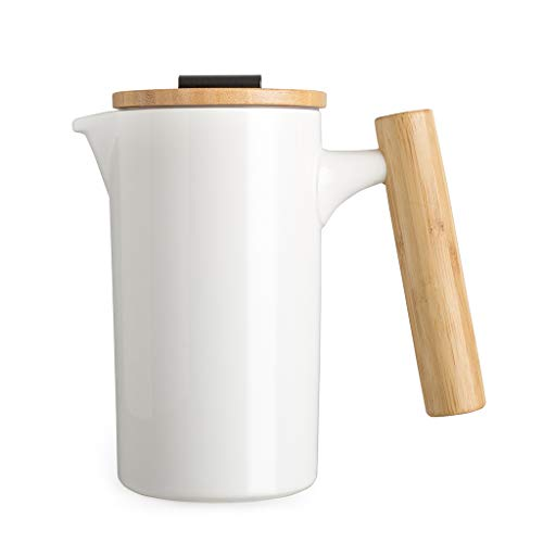 DHPO Ceramic French Press Coffee Maker/Coffee Pot/Tea Maker with bamboo handle and lid for Home Office 28oz./800ML (white) ()