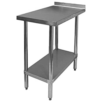 this item gsw commercial work table with stainless steel top 1 galvanized undershelf 1 12 backsplash adjustable bullet feet 30w x 18l x 35h