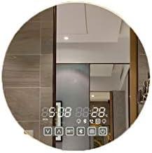 BLXFN スマートバスルームミラータッチスクリーントイレラウンドミラー壁掛けランプバニティミラートイレ壁Bluetooth