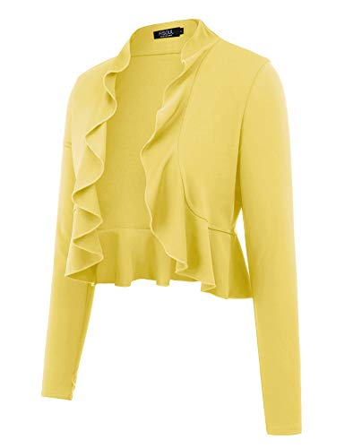 FISOUL Women's Open Front Cropped Cardigan Lone Sleeve Casual Shrugs Jacket Draped Ruffles Lightweight Sweaters Yellow XL ()