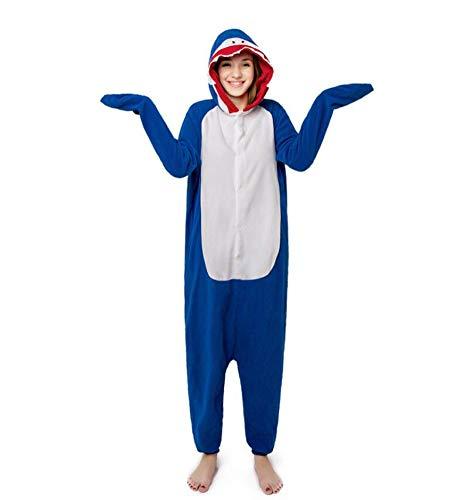 Adult Unisex Animal Cosplay Pajamas Onesies Costumes Blue Shark]()