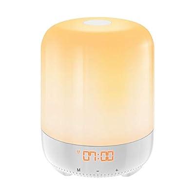 AMIR Wake-Up Light, Sunrise Simulation Alarm Clock, Nature Night Light, 5 Colors Atmosphere Lamp, 3 Brightness Bedside Lamp, Morning Wake-Up Alarm Light with Nature Sounds & FM Radio - Touch Control