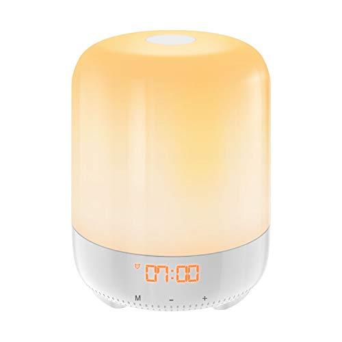 Light Alarm Clock Natural (AMIR Wake-Up Light, Touch Sensor Bedside Lamp, Sunrise Alarm Clock, RGB Colors Mood Atmosphere Light, Night Light, Digital Clock with 8 Natural Sound, Snooze Function, 3-Level Brightness for Bedroom)