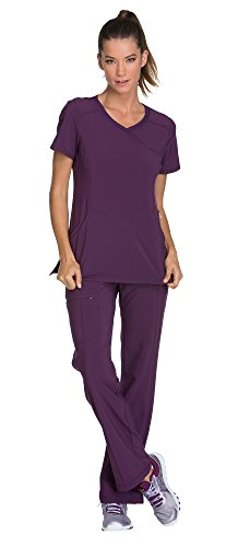 Cherokee Infinity Women's Mock Wrap Scrub Top 2625A & Low Rise Drawstring Scrub Pants 1123A Scrubs Set (Certainty Antimicrobial) (Eggplant - - Waistband V-neck