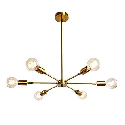 6 Lights Fixture Modern Gold Sputnik Chandelier Brushed Brass Mid Century Pendant Light Semi Flush Mount Hanging Lamps for Dining Bedroom Kitchen Lighting