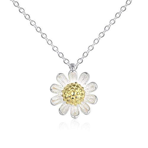 (BALANSOHO 925 Sterling Silver Daisy Flower Pendant Choker Necklace 16'' for Women Girls, Jewelry)