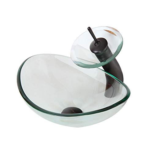 ELITE Unique Oval Clear Tempered Bathroom Glass Vessel Sink & Oil Rubbed Bronze Waterfall Faucet