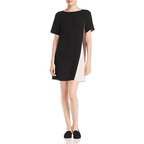 Eileen Fisher Womens Petites Silk Crepe T-Shirt Dress Black PM