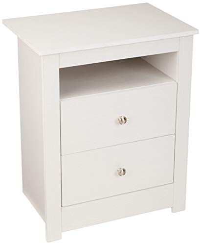 AmazonBasics Classic 2-Drawer Wood Nightstand End Table - White Oak (White Sets Bedroom Oak Furniture)