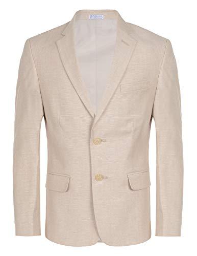 (Calvin Klein Big Boys' Linen Blazer Jacket, Stone, 10)