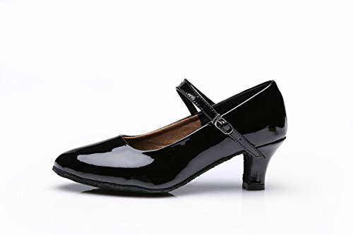 ShangYi Ballroom dance modern dance shoes female adult with female modern shoes soft sole high-heeled women's dance shoes dance shoes, with height 7cm Black