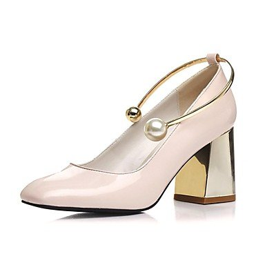 Talones de las mujeres Zapatos Primavera Verano Otoño Invierno Club de piel de vaca Comfort boda Charol Fiesta y vestido de noche Chunky HeelImitation Nude