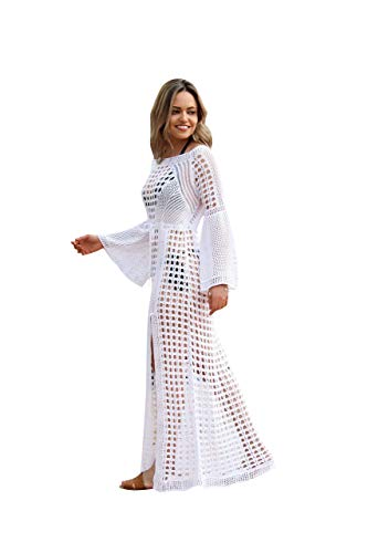 NFASHIONSO Womens Crochet Tassel Beach Wear Cover up Swimwear Bikini Long Maxi Beach Dress