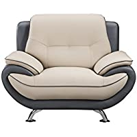 American Eagle Furniture Bonded Leather Living Room Sofa Chair with Pillow Top Armrests, Light/Dark Gray