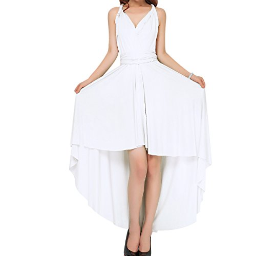 Women's Flowy Transformer Convertible Multi Way Wrap Long Prom Maxi Dress V-Neck Hight Low Wedding Bridesmaid Evening Party Grecian Dresses Backless Halter Formal Cocktail Gown White Hi Low S