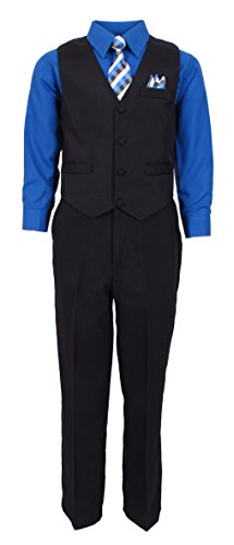 Formal Set Suit (Vittorino Boy's 4 Piece Formal Dress Suit Sets 7 Black French Blue)