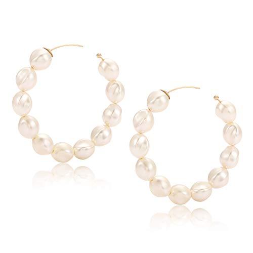 BVGA Hoop Earrings for Women Ivory Pearl Hoop Earrings Lightweight Ear Drop Dangles