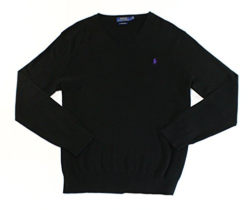 Polo Ralph Lauren Mens Ribbed Long Sleeves V-Neck Sweater Black - Polo Free Shipping