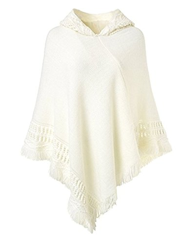 SUNNYME Women Solid Color Poncho Hooded Fringes Crochet Shawl Capes Cover Up Cardigan White One (Fringed Sweater Coat)