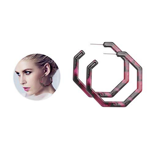(Geometric Hoop Earrings for Women Acrylic Hoop Earrings Purple Statement Earrings for Women Tortoise Shell Print)