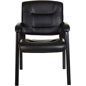 Amazon Basics Classic Faux Leather Office Desk Guest Chair with Metal Frame – Black