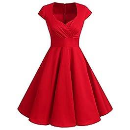 bbonlinedress Women's 50s 60s A Line Rockabilly Dress Cap Sleeve Vintage Swing Party Dress