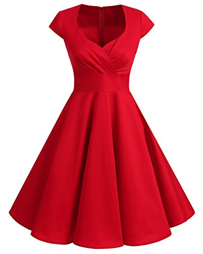 bbonlinedress Women's 50s 60s A Line Rockabilly Dress Cap Sleeve Vintage Swing Party Dress