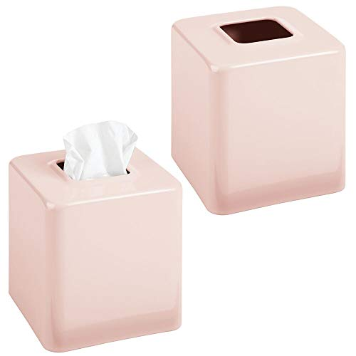 (mDesign Modern Square Metal Paper Facial Tissue Box Cover Holder for Bathroom Vanity Countertops, Bedroom Dressers, Night Stands, Desks and Tables - 2 Pack - Light Pink/Blush )