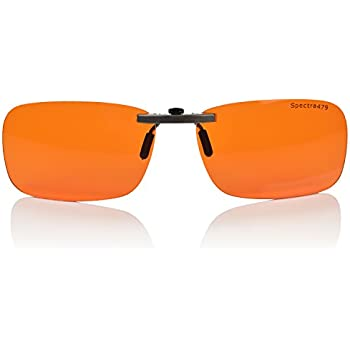 9fd521fa636 Clip-on Blue Blocking Amber Lenses for Sleep - BioRhythm Safe(TM) -  Nighttime Eye Wear - Special Orange Tinted Lenses Help You Sleep and Relax  Your Eyes ...