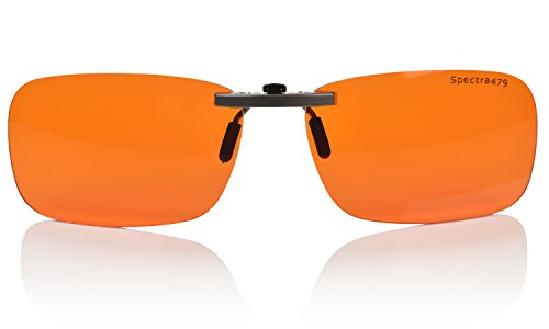 Clip-on Blue Blocking Amber Lenses for Sleep - BioRhythm Safe(TM) - Nighttime Eyewear - Special Orange Tinted Lenses Help You Sleep and Relax Your Eyes (Regular, - Lenses Blue