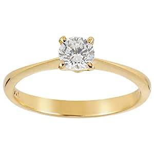 Women's Yellow Gold Solitaire Band Ring - 7 US